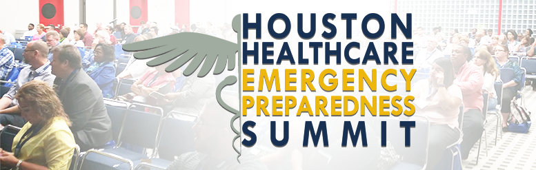 Healthcare Summit Logo superimposed over a group of people in a room
