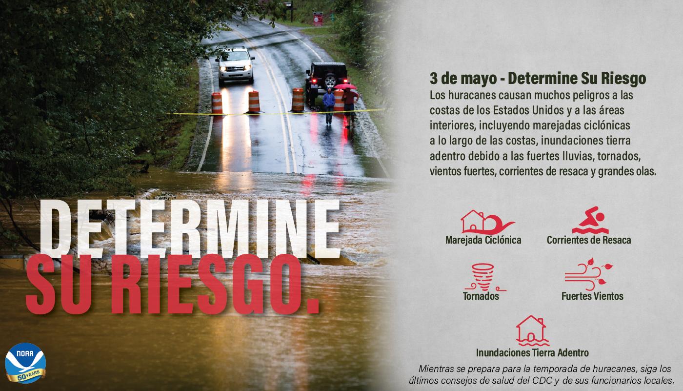 3 de mayo – Determine Su Riesgo. Los huracanes causan muchos peligros a las costas de los Estados Unidos y a las áreas interiores, incluyendo marejadas ciclónes a lo largo de las costas, inundaciones tierra adentro debido a las Fuertes lluvias, tornados, vientos fuertos, corrientes de resaca y grandes olas. • Marejada Ciclónica • Corrientes de Resaca • Tornados • Fuertes Vientos Mientras se prepara para la temprada de huracanes, siga los últimos consejos de salud del CDC y de sus funcionarios locales.