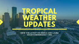 """A graphic that says """"Tropical Weather Updates: view the latest on Marco and Laura, houstonemergency.org"""". The Houston skyline is seen in the background, and stylized arrows on the side point to the text in the center."""