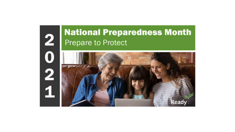 """A logo for National Preparedness Month. It features the name of the month, 2021, and the words """"Prepare to Protect."""""""