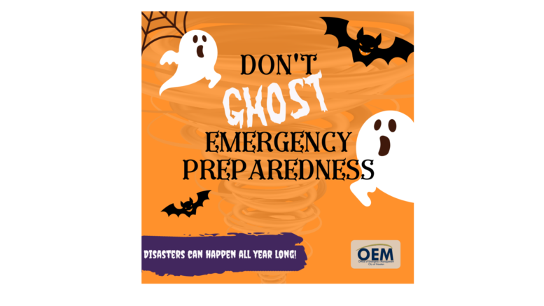 Orange background. Ghost and bats flying around. Text: Don't ghost emergency management. Disaster's can happen all year long.