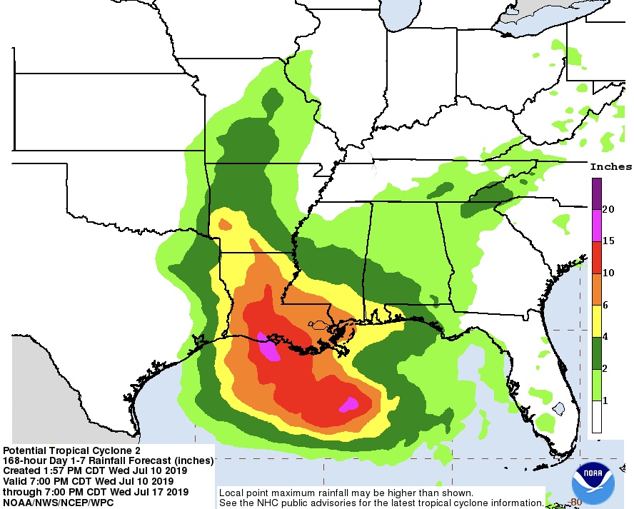 rainfall estimates showing 1-inch in fort bend and up to 15 inches in coastal Louisiana