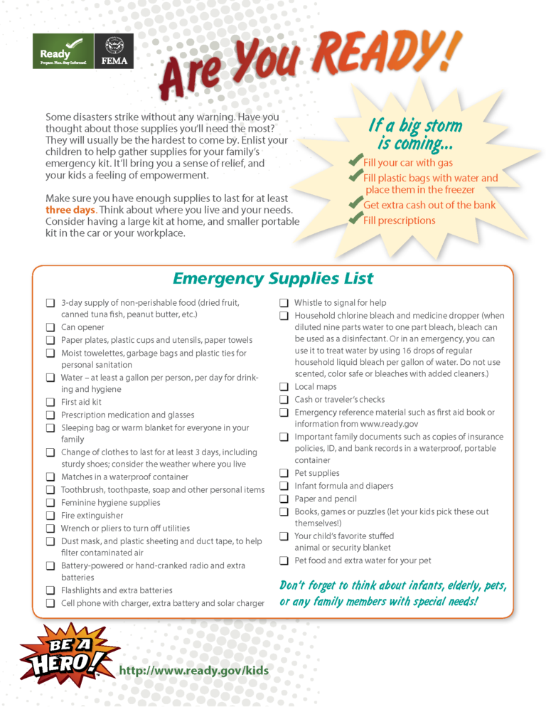 Emergency Checklist For Parents