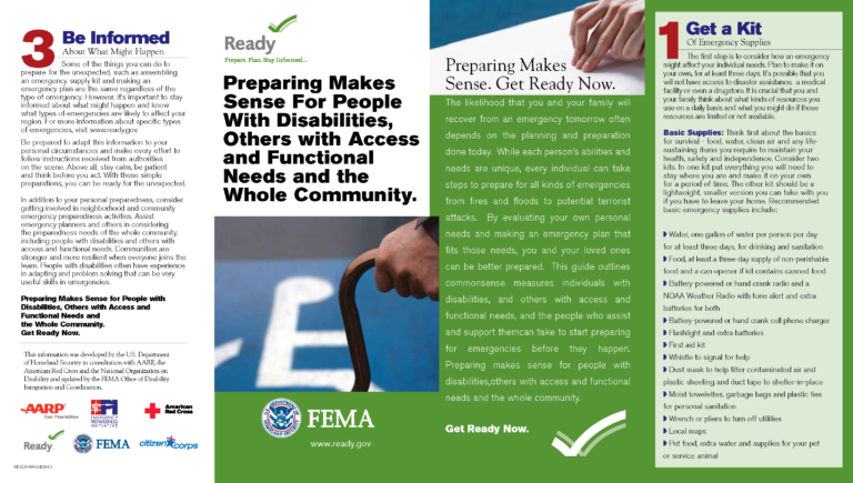 Preparing Makes Sense For People With Disabilities.